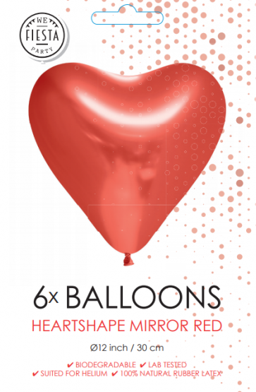 6 Heartshape Chrome / Mirror balloons, 12'' - red