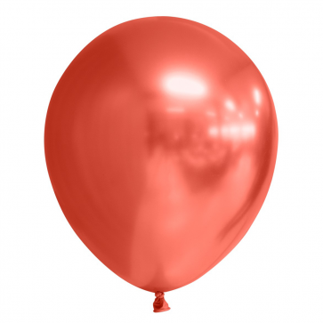 10 Chrome / Mirror balloons, 12'' - red