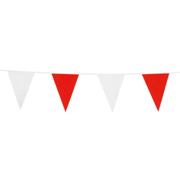 Giant Bunting PE 10m. red & white - size flags: 30x45cm