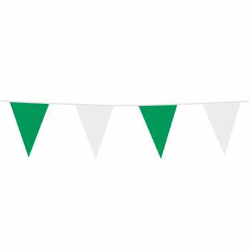 Bunting PE 10m.  green & white - size flags: 20x30cm