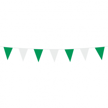 Bunting PE 3m.  green - white - size flags:10x15cm