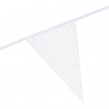 Bunting Glitter 6m. white - size flags 20x30cm