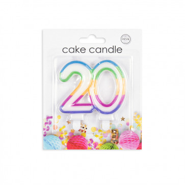 Number candle multicolor, nr. 20