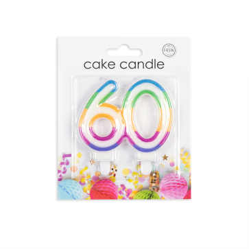 Number candle multicolor, nr. 60