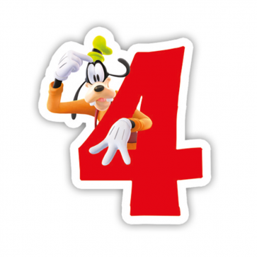 1 Birthday Numeral Candles No 4 - Playful Mickey