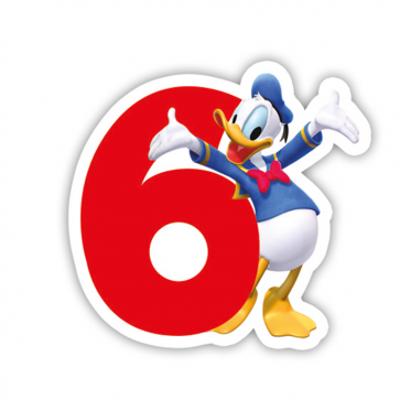 1 Birthday Numeral Candles No 6 - Playful Mickey