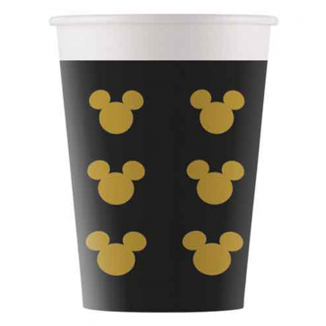 8 Paper cups 200ml - Mickey Gold