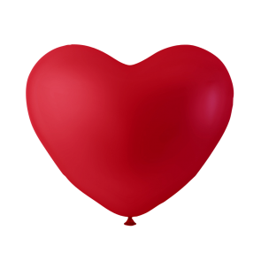6 heartballoons , 10'' - red