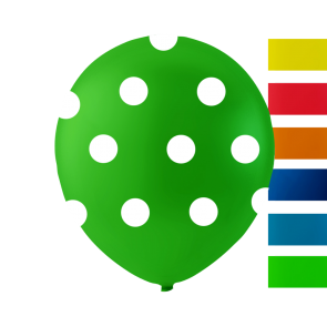 6 balloons dots, 10'' - astd. color