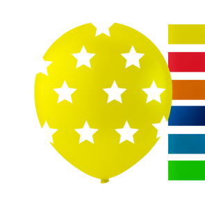 6 balloons stars, 10'' - astd. color