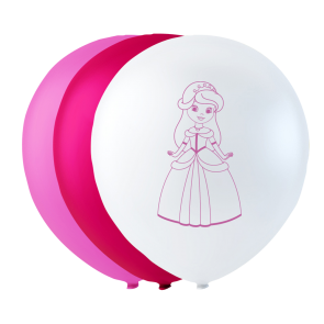 6 balloons princess, 10'' - pink/white