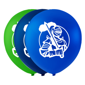 6 balloons knight, 10'' - blue/green