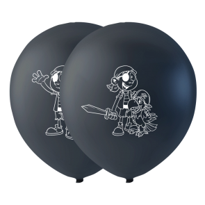 6 balloons pirate, 10'' - black