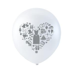 6 balloons wedding, 10'' - white