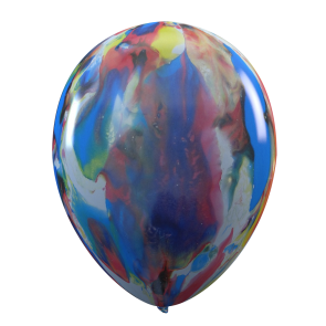 6 multicoloured (marble) balloons, 12'' -