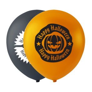 10 Halloweenballoons with print, 10'' - black/orange