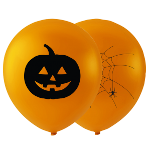 2 MEGA Halloweenballoons with print , 29'' - orange