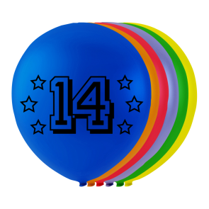 "8 balloons ""14"", 10'' - astd. color"