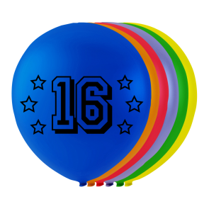 "8 balloons ""16"", 10'' - astd. color"