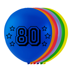 "8 balloons ""80"" , 10'' - astd. color"