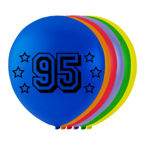 "8 balloons ""95"" , 10'' - astd. color"