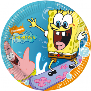 10 Paper Plates  Medium 20cm - Spongebob
