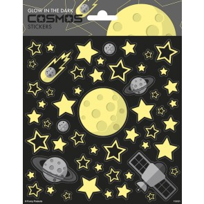 Paper Sheet Stickers Large Glow in the Dark - Cosmos
