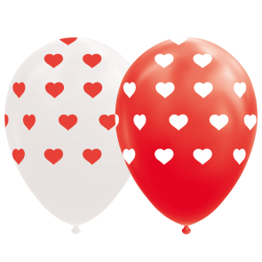 "8 Balloons 12"" hearts red/white"
