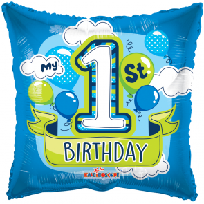 "Foilballoon square  ,  18""  -  pr 1st birthday boy balloons gb"