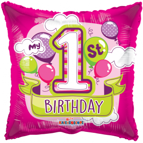 "Foilballoon square  ,  18""  -  pr 1st birthday girl balloons gb"