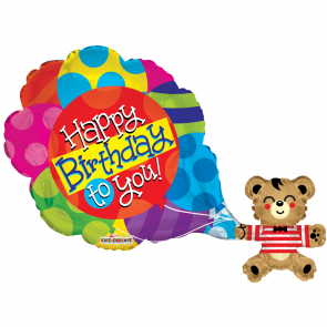 "Foilballoon XL , 36"" - pr - happy birthday bear with balloons"