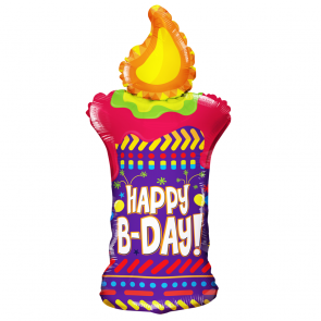 "Foilballoon shape  ,  36""  -  pr happy b-day candle shape"