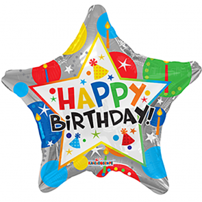 "Foilballoon star  ,  18""  -  birthday silver star"