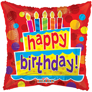 """Foilballoon square  ,  18""""  -  birthday cake & candles"""