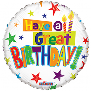 """Foilballoon round  ,  18""""  -  bv have a great birthday"""