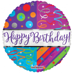 "Foilballoon round  ,  18""  -  bv birthday streamers"