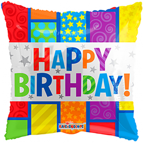 "Foilballoon square  ,  18""  -  bv birthday square"
