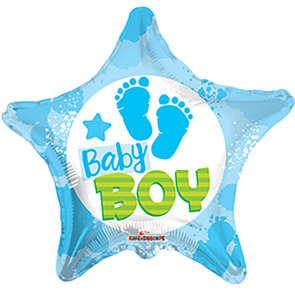 "Foilballoon star  ,  18""  -  bv baby boy footprints"
