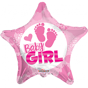"Foilballoon star  ,  18""  -  bv baby girl footprints"
