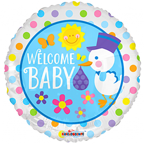 "Foilballoon round  ,  18""  -  bv welcome baby stork"
