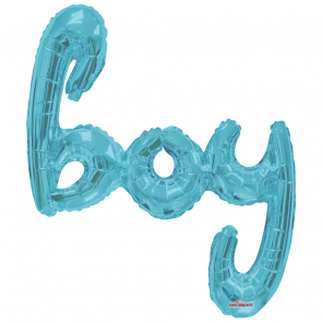 "Foilballoon XL script, 36"" - boy baby blue"