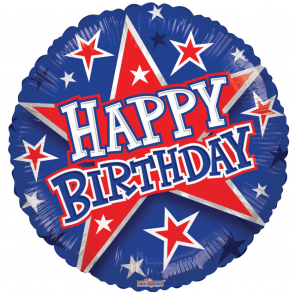 "Foilballoon round  ,  18""  - bv birthday red & blue stars"