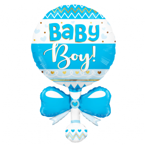 "Foilballoon XL  ,  36""  -baby boy rattle blue"
