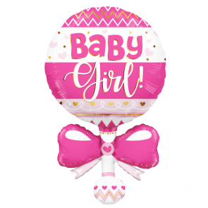 "Foilballoon XL  ,  36""  -  baby girl rattle pink"