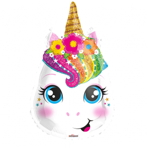 "Foilballoon shape , 18"" - unicorn face"