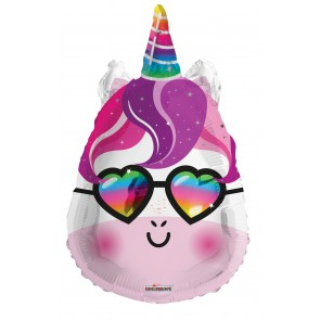 "Foilballoon shape , 18"" - unicorn face with glasses"