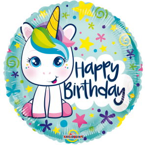 "Foilballoon round , 18"" - pr birthday cute unicorn"