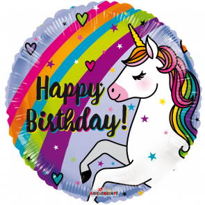 "Foilballoon round , 18"" - pr birthday unicorn & rainbow"