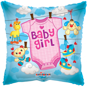 "Foilballoon square  ,  18""  -  sv baby girl baby clothes"