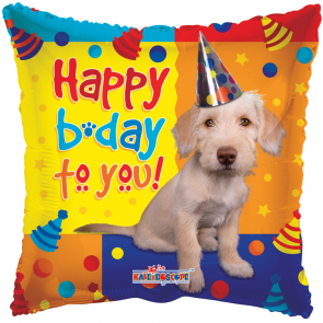 "Foilballoon square  ,  18""  -  sv happy birthday dog with party hat"